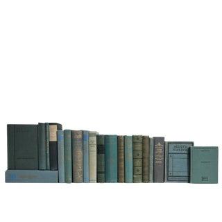 Vintage Teal World Classics Book Set, S/20 For Sale