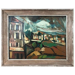 """Mid-Century """"Village"""" Signed Seriagraph on Board Attributed to Maurice De Vlaminck For Sale"""