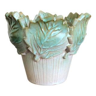 Vintage Italian Pottery Leaf Pot For Sale
