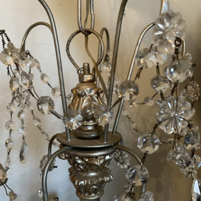 Metal 1940s Italian Crystal and Silver Gilt Iron Four Arm Chandelier For Sale - Image 7 of 12