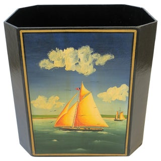 Nautical Black and Gold Wastebasket or Trash Can For Sale