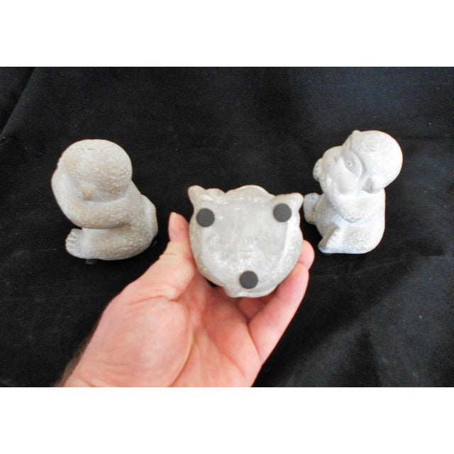 Gray Three Wise Monkeys Cement Figurines For Sale - Image 8 of 9