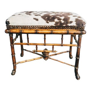 Vintage Bamboo Faux Cowhide Footstool