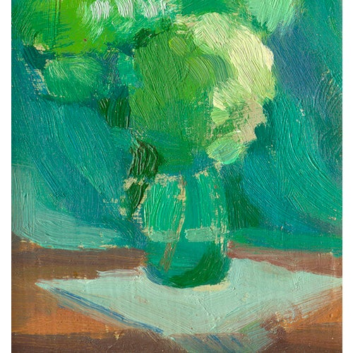 White Hydrangeas in a glass vase on a white napkin, a print of an oil painting by Amy Griffith Colley