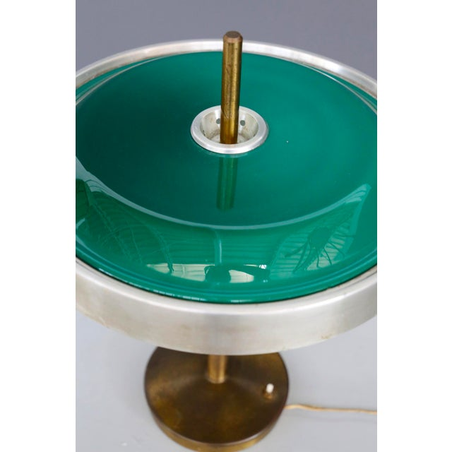 Oscar Torlasco MidCentury Table Lamp in Brass and Cased Glass by Lumi 1950s For Sale - Image 6 of 9