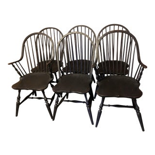 Matte Black Windsor Dining Chairs - Set of 6
