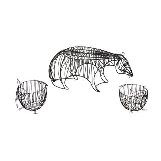 Metal Wire Animal Stool and Baskets by John Risley - 3 Pc. Set For Sale