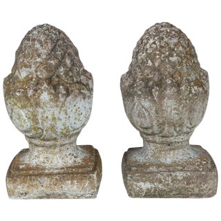 Pair of English Cast Stone Finials, Circa 1920 For Sale