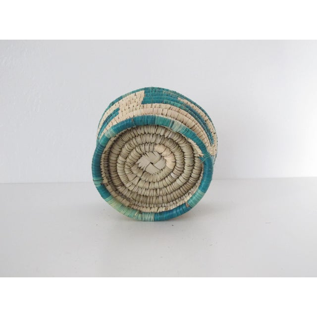 Turquoise Block Basket w/ Base - Image 3 of 3