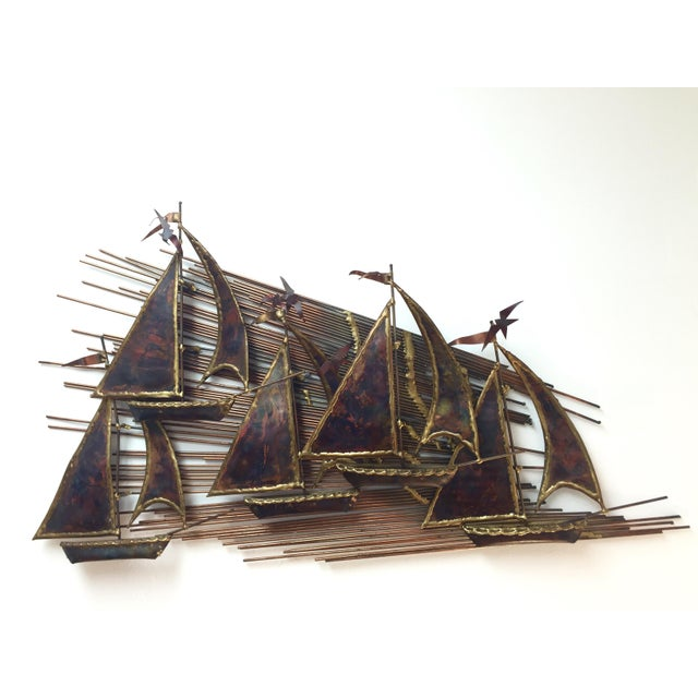 Brutalist Metal Boats Wall Art - Image 2 of 3
