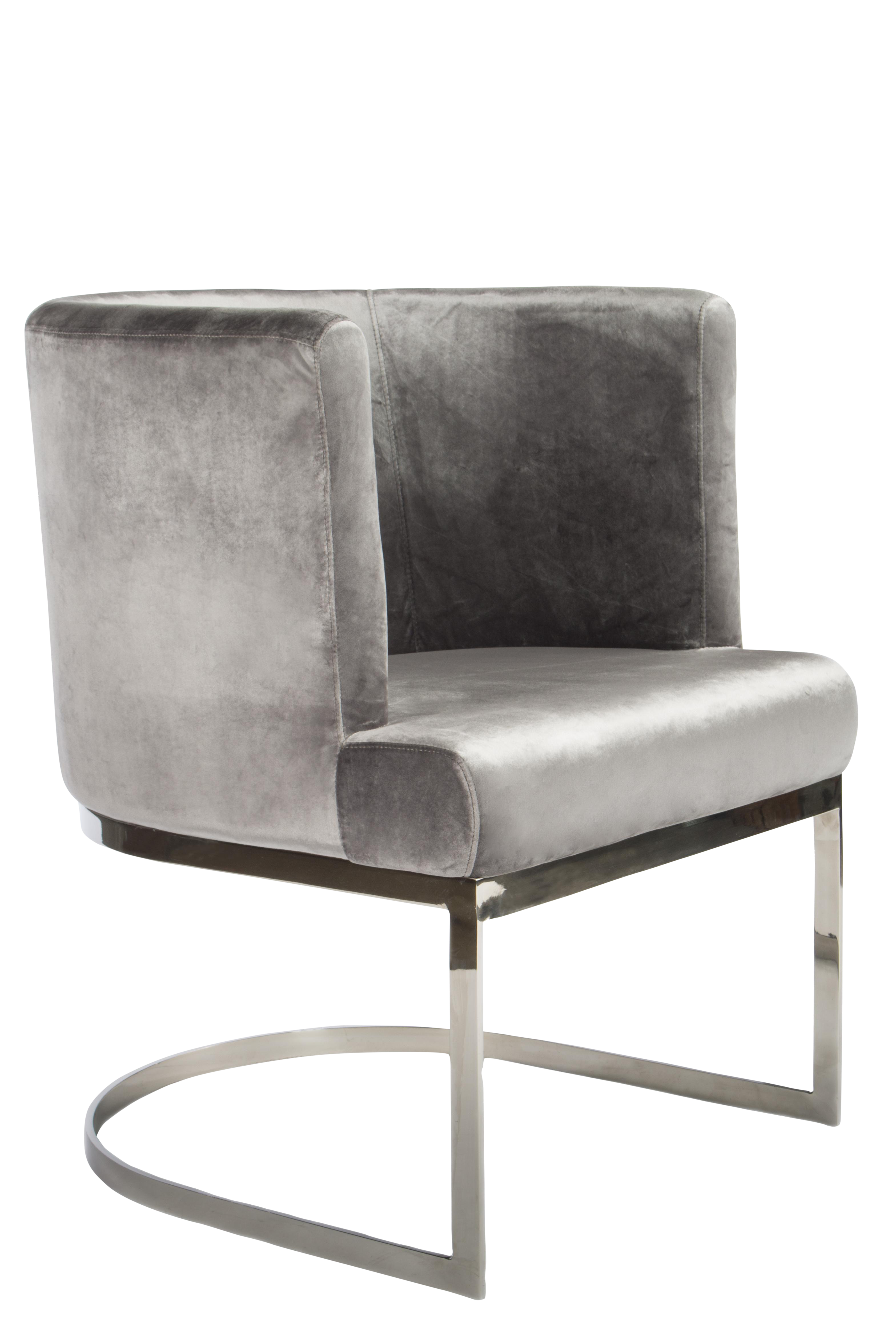 Pair Of Gray Velvet And Chrome Circular Design Side Chairs