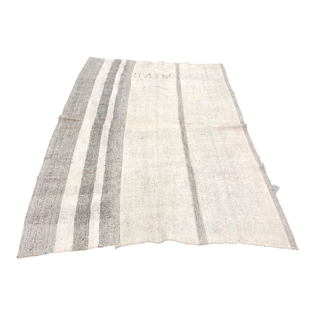 1960s Vintage Natural Wool Turkish Handwoven Anatolian Aztec Floor Rug- 5′4″ × 8′2″ For Sale