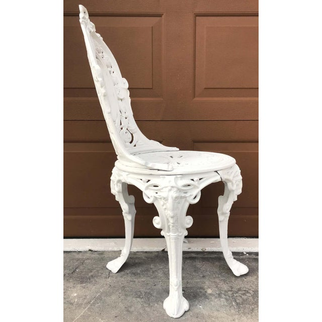 Pair of Victorian Angel Motif Wrought Iron Garden Chairs, Restored For Sale In West Palm - Image 6 of 12