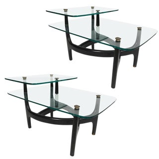 Mid-Century Modern Glass Top Side Tables - a Pair For Sale