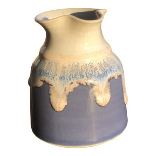 Cream and Blue Pottery Pitcher/Carafe, Signed For Sale