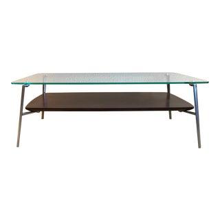 Contemporary Modern BDi Walnut & Glass Coffee Table For Sale