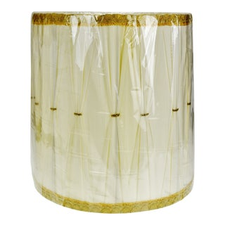 Vintage Hollywood Regency Drum Lamp Shade W/ Gold Piping For Sale