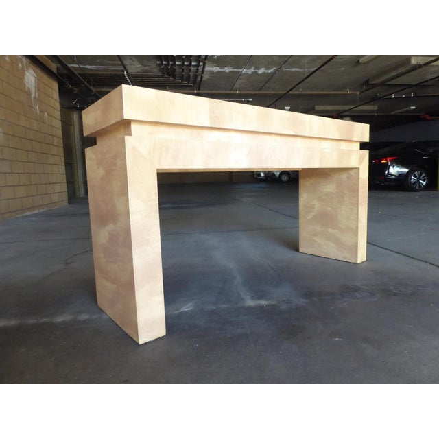 A Chic Art Deco Inspired Faux-Goatskin Console Table For Sale - Image 11 of 12