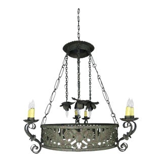19th C. Spanish Wrought Iron Chandelier For Sale