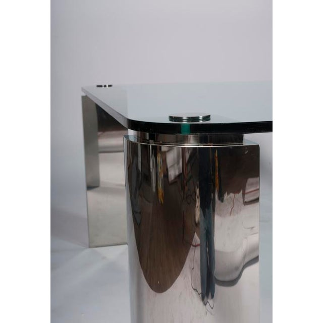 POLISHED STEEL AND GLASS DINING TABLE - Image 5 of 6