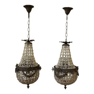 Petite Empire Cherub Chandeliers - a Pair For Sale
