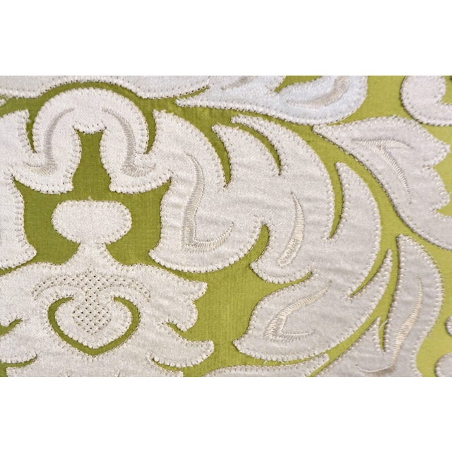 Contemporary French Green and Ivory White Damask Velvet Throw Pillows - a Pair For Sale In New York - Image 6 of 11