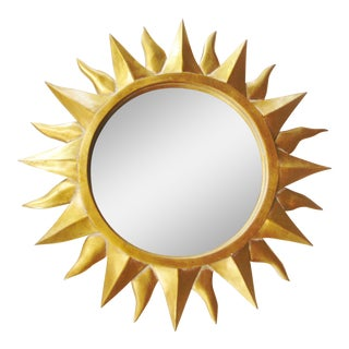 Italian Style Gilt Painted Sunburst Mirror For Sale