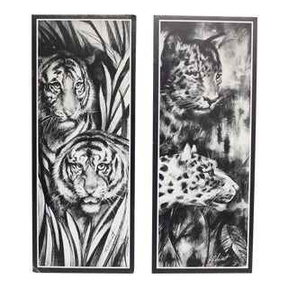 2 Vintage Tiger & Cheetah Prints Wall Hangings Wall Decor Black White Rf Harnett Lithographs For Sale