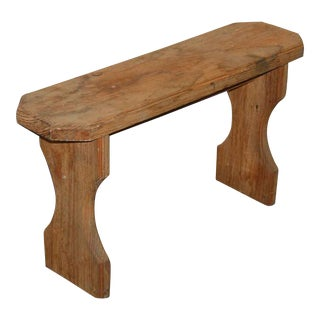Antique Small Unfinished Solid Wood Bench
