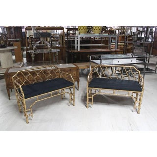Vintage Mid Century Gold Gilt Metal Faux Bamboo Upholstered Window Benches Pair Preview