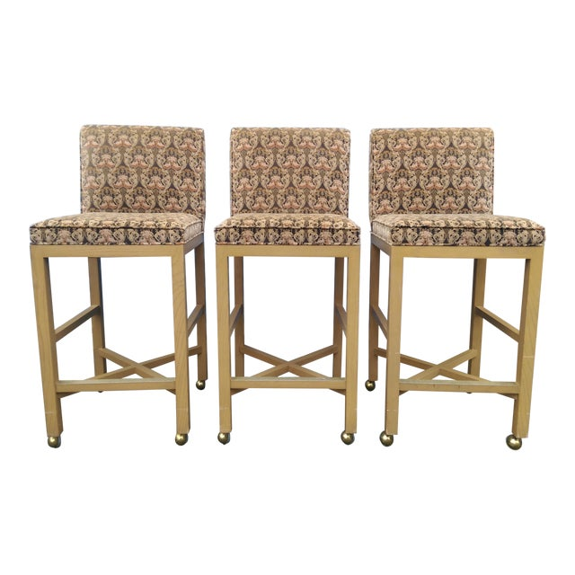 Velvet 1980s Bar Stools on Caster - Set of 3 - Image 1 of 11