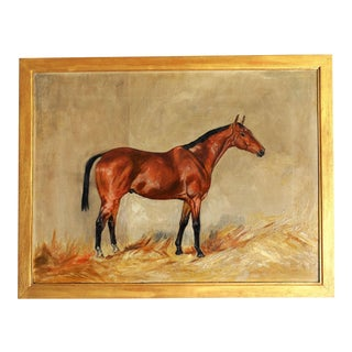19th-Century Race Horse Oil Painting