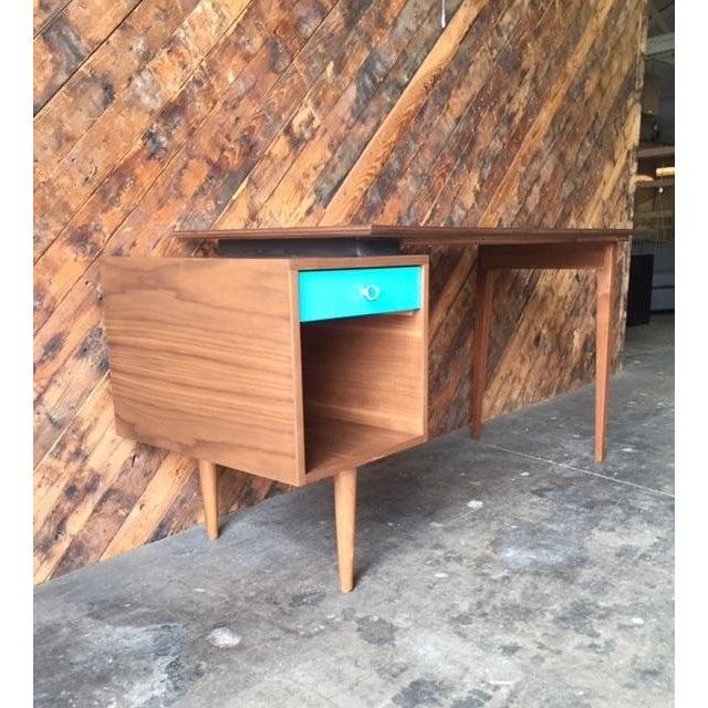 Mid-Century Style Walnut Desk - Image 7 of 8