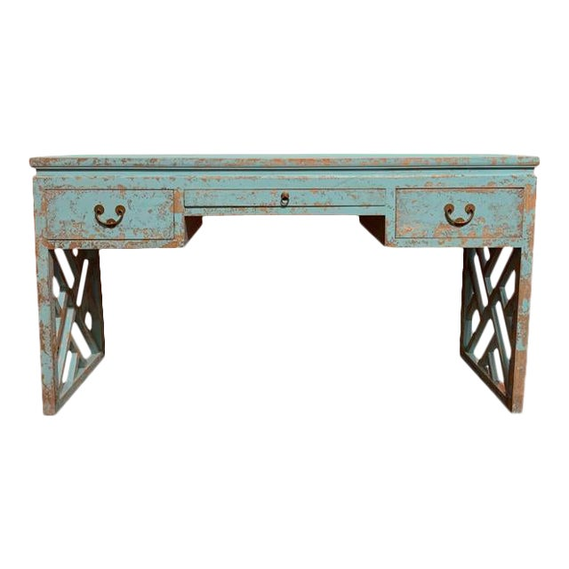 Asian Distressed Panel Legs Desk For Sale