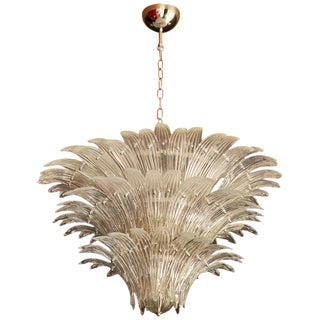 Palmette Murano Glass Chandelier of Flush Mount in the Manner of Barovier & Toso For Sale
