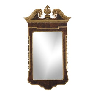 1990s Vintage Georgian Style Walnut & Gold Trim Italian Mirror For Sale