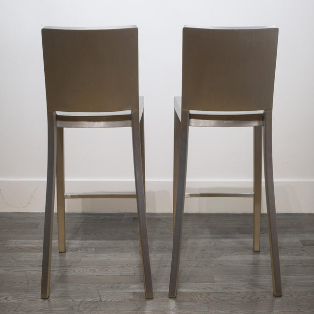 Aluminum Set of 4 Emeco Hudson Counter Stools by Philippe Starck For Sale - Image 7 of 10