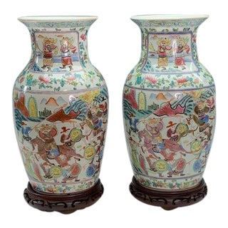 Antique Chinese Famille Rose Vases With Warriors on Stands - a Pair 1875–1908 For Sale
