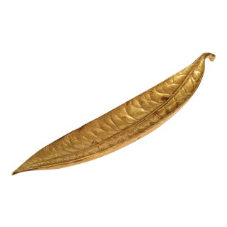 1940s Vintage Virginia Metalcrafter Brass Leaf Dish / Tray For Sale