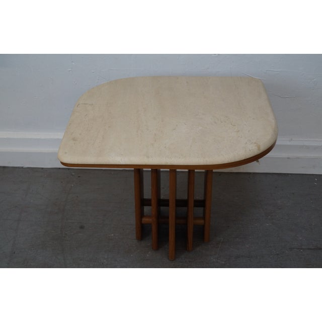 Danish Modern Teak & Travertine Coffee Table - Image 3 of 9