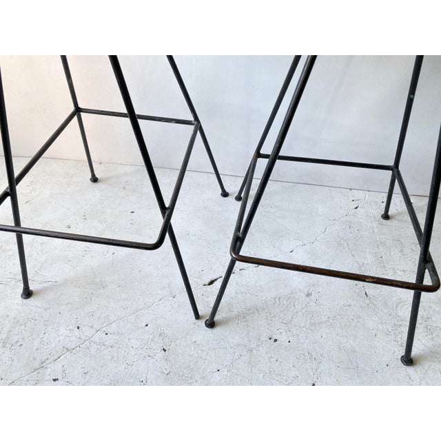 Vintage Arthur Umanoff Iron Wicker Back Counter Height Barstools- A Pair For Sale - Image 10 of 11
