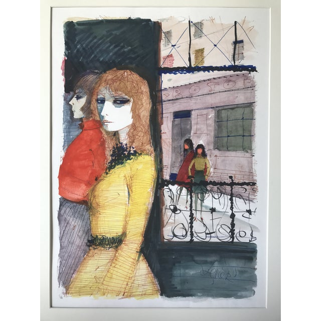 Parisian Women Charles Levier Watercolor Painting - Image 2 of 5