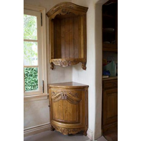 French Custom Made Corner Cabinet and Shelf - Image 2 of 8