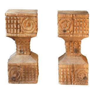 Brutalist Carved Pedestals - A Pair