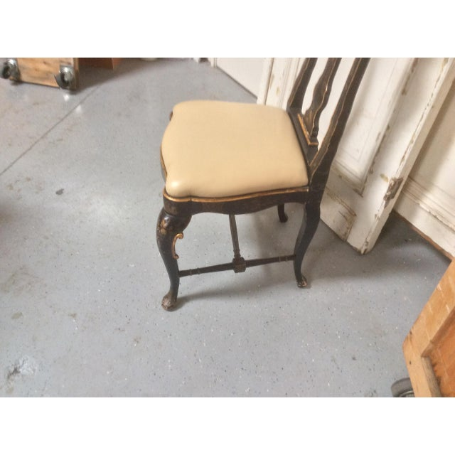Antique Chinoiserie Desk Chair With Leather Seat For Sale In San Antonio - Image 6 of 10