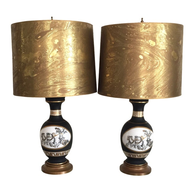Black Porcelain Lamps with Gold Shades - A Pair - Image 1 of 11