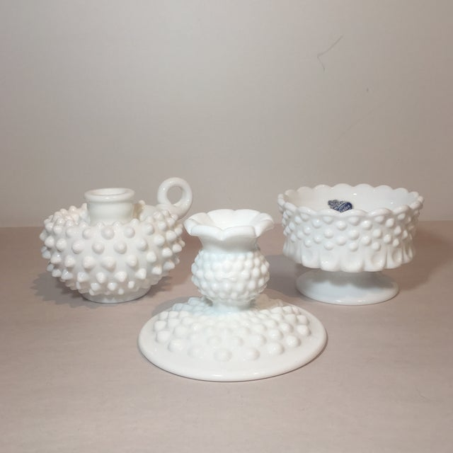 Mid-Century Modern Fenton Hobnail Milk Glass Candle Holders - Set of 3 For Sale - Image 3 of 7
