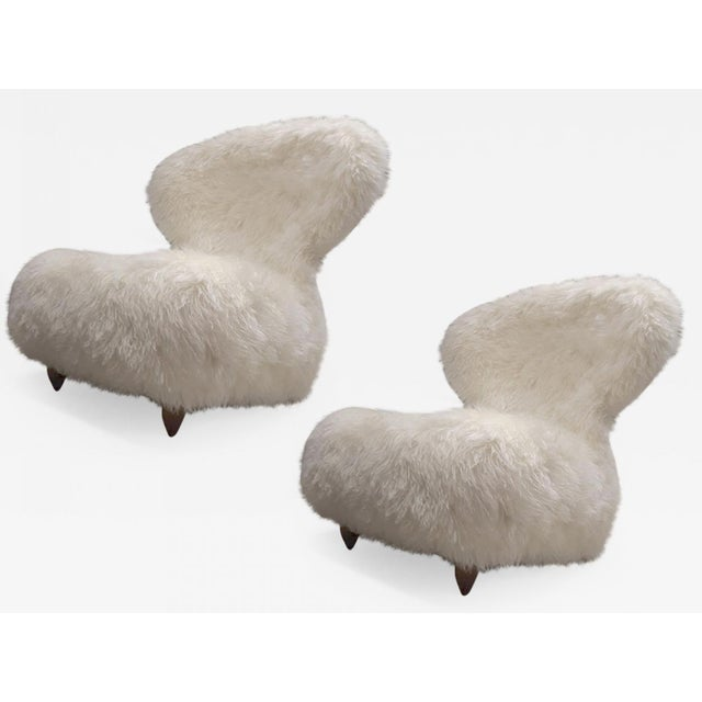 White Annie Hieronimus for Cinna Pair of Chair Covered in Mohair Faux Fur For Sale - Image 8 of 8