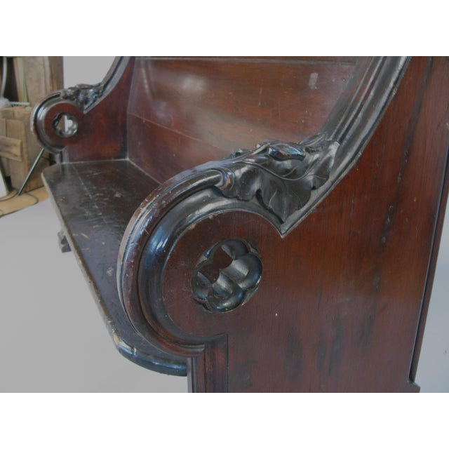 Wood Antique Gothic Hall Bench For Sale - Image 7 of 10