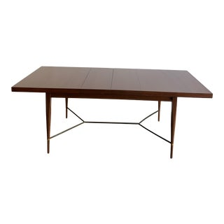 Mid-Century Modern Paul McCobb Dining Table With Brass Stretchers For Sale